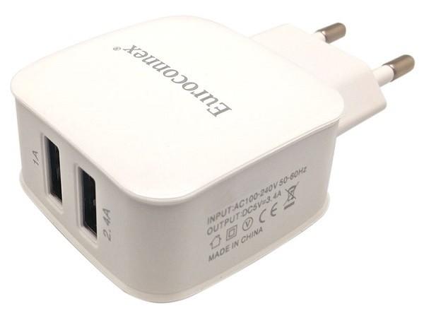 Cargador Dual USB 2 Salidas, 5V - 3.4A - Cargador USB 100/240V., 5V.con 2 salidas 1A y 2.4A