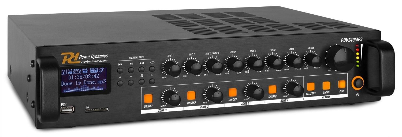 Amplificador 240W RMS - Línea de 100V y 4 Zonas - Amplificador 240W RMS - Línea de 100V y 4 Zonas Modelo  PDV240MP3