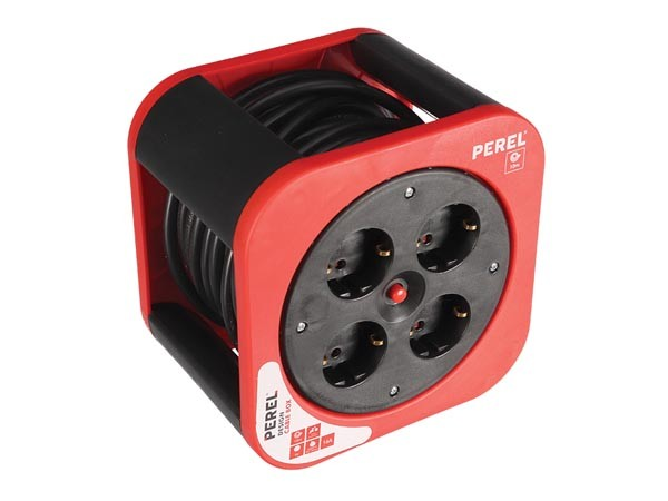 Enrollable Cable Eléctrico 10 mts 3x1.5 mm rojo - Enrollacables con 10 mts de cable eléctrico de 3 x 1.5mm.4 clavijas color rojo