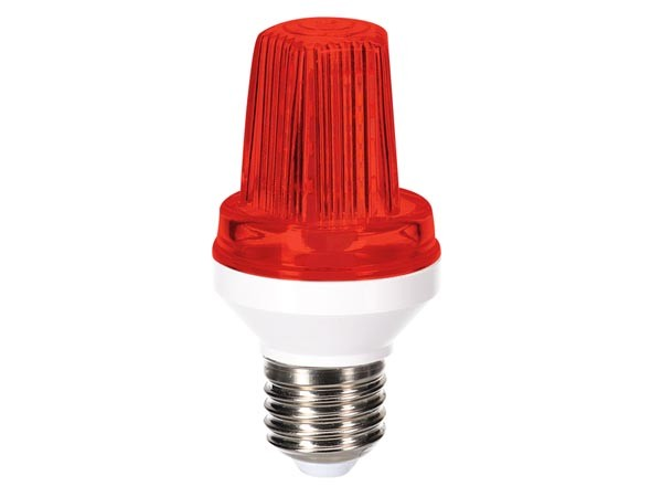 Lámpara flash a leds Roja - Mini lampara led estroboscopica con casquillo E27 roja