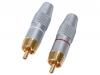 Juego 2 Conectores RCA Macho - Blister con 2 conectores de alta calidad RCA Macho Dorados.Ref: hqs-scc002