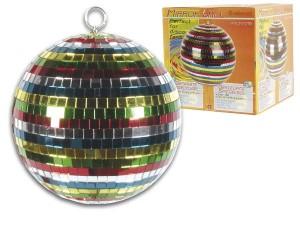 Bola de espejos multicolor - Bola de espejos multicolores de 20 cm.Ref: vdl20cmb