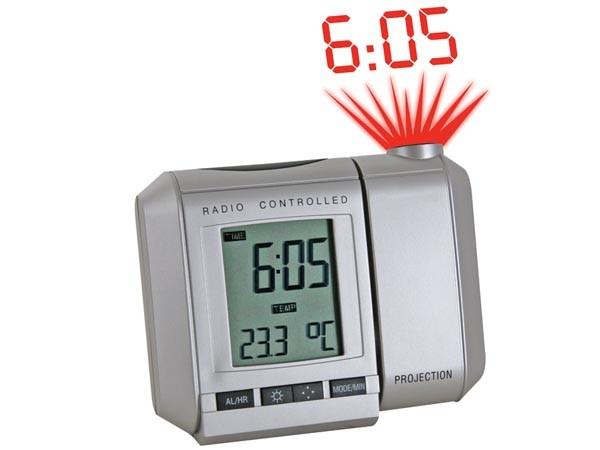 Reloj DCF con proyección de hora con alarma